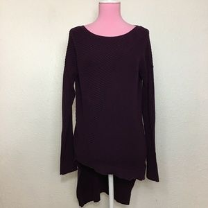 Express edgy high-low sweater eggplant purple